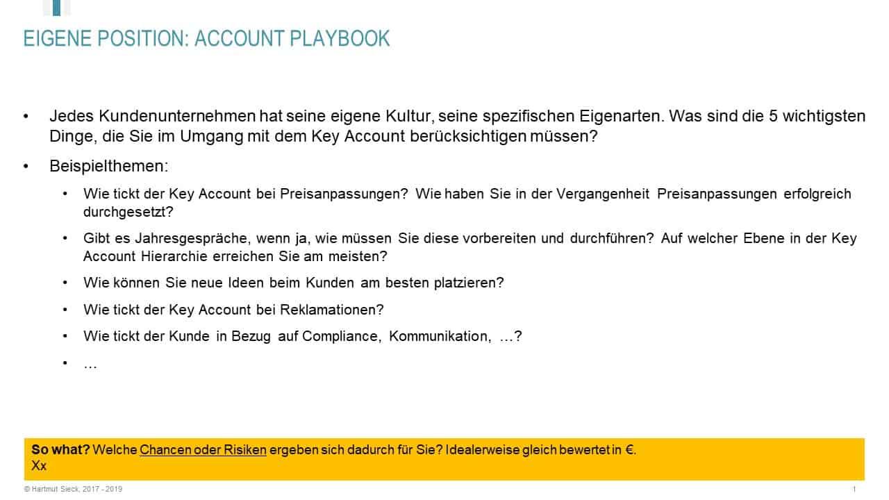 Key Account Playbook als Teil vom Key Account Plan