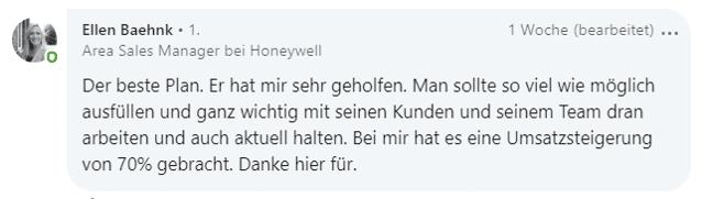 Feedback zum Key Account Plan von Hartmut Sieck