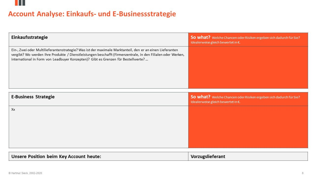 Einkaufsstrategie / E-Business Strategie des Key Accounts