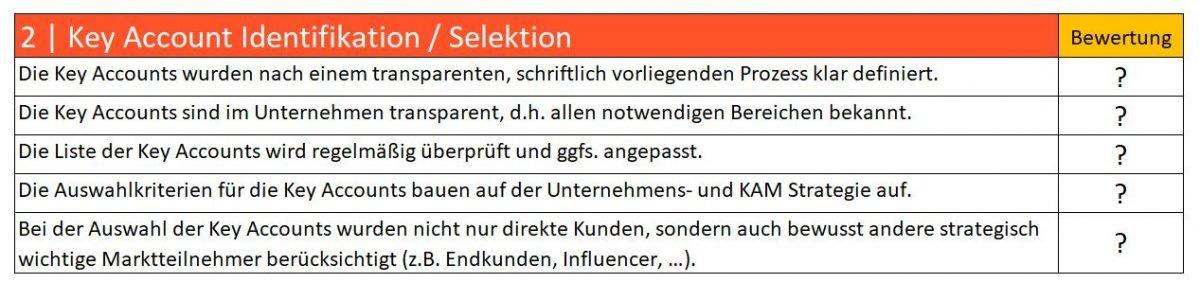 Checkliste Key Account Auswahl im Unternehmen