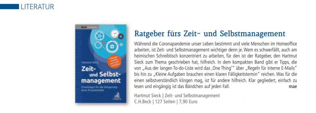"""Buchtipp """"Zeit- und Selbstmanagement"""" von Hartmut Sieck (IHK Zeitschrift 5-6 2020)"""