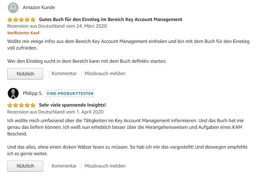 "Rezensionen bei amazon zum Buch ""Der Key Account Manager"""