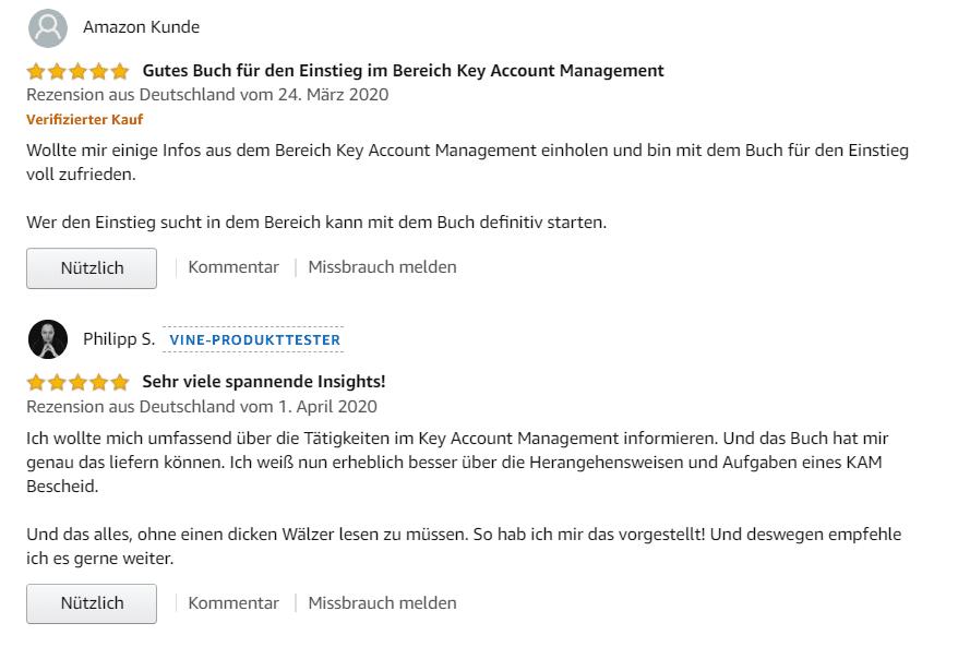"""Rezensionen bei amazon zum Buch """"Der Key Account Manager"""""""