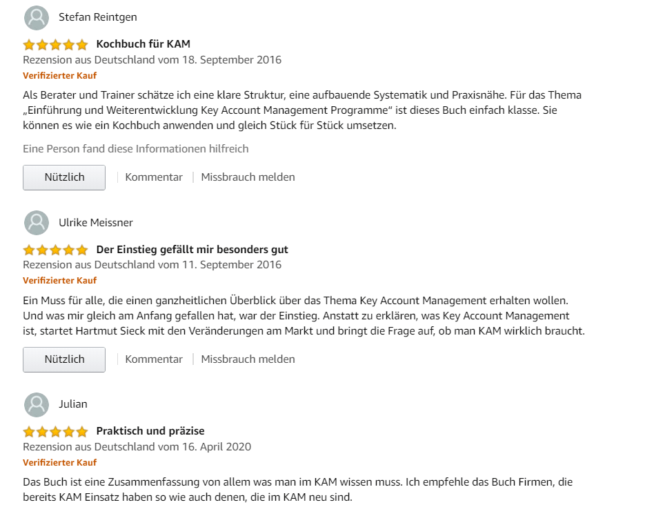 "Rezensionen bei amazon zum Buch ""Key Account Manage,ent"""