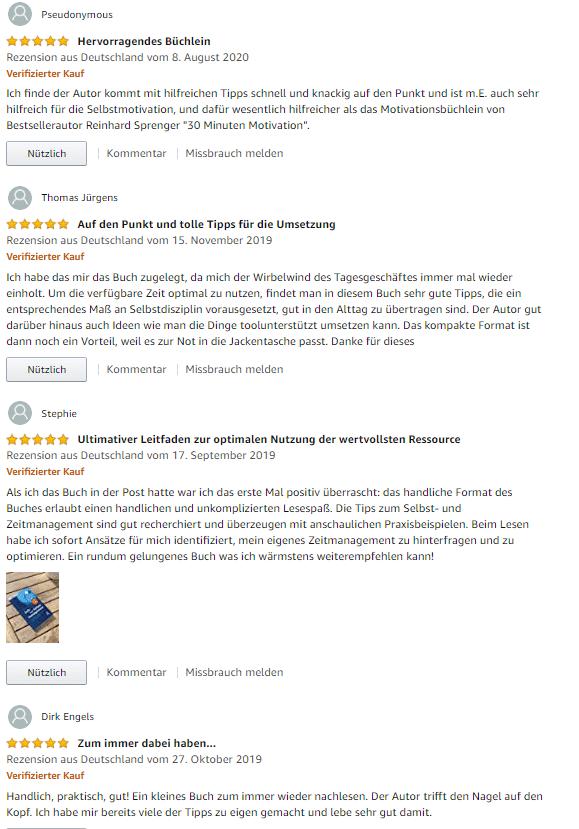"""amazon Rezensionen zum Buch """"Zeit und Selbstmanagement"""" von Hartmut Sieck"""
